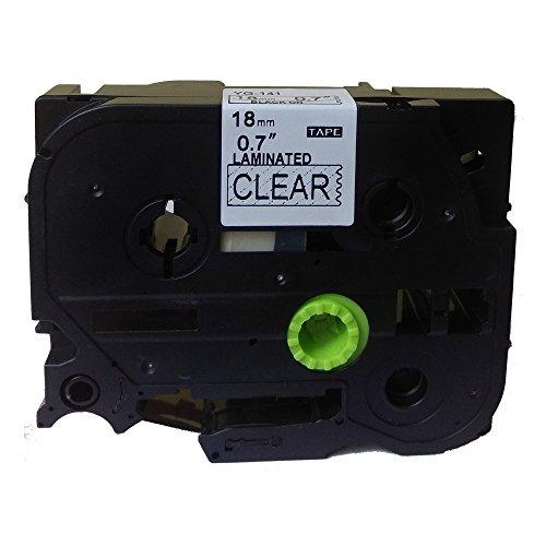 Neouza compatibile per Brother P-Touch Laminated TZe TZ Label tape Cartridge 18mm TZe-141 Black on Clear