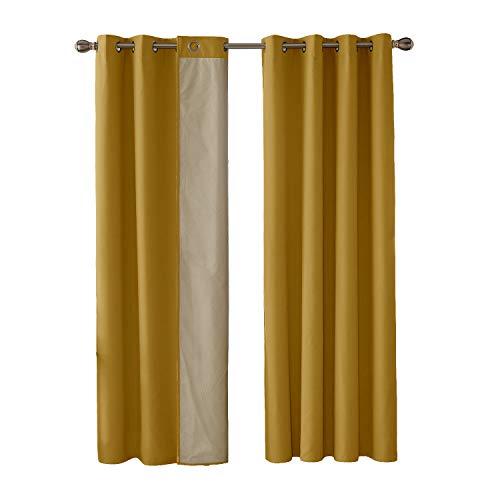 Deconovo Cortinas Térmicas de Salón Suave Moderno Original con Forro de Gris Plata 1 Par 140 x 180 cm Amarillo