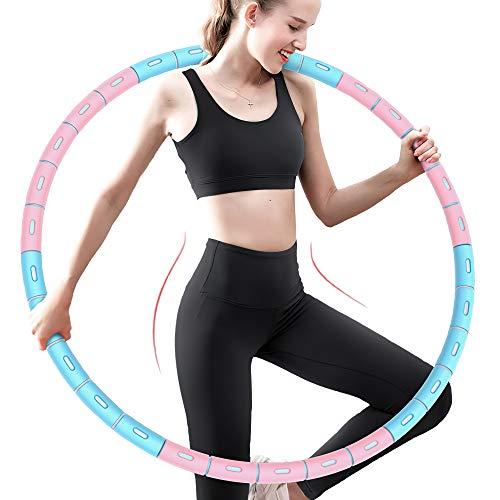 Hula Reifen für Erwachsene,Fitnessreifen,1.2kg Reifen zur Gewichtsabnahme,Stabiler Edelstahlkern und 6 Segmente Abnehmbarer Fitness Reifen Durchmesser 85cm Für Fitness/Sport/Zuhause/Bauchformung