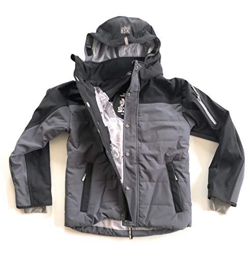 XS Exes Jacke Skijacke Winterjacke Snowboardjacke Funktionsjacke Wasserdicht, grau/schwarz, Gr.140