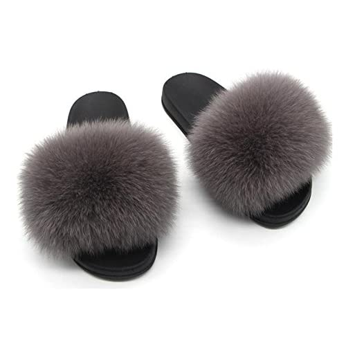 f25ae27c8e50 TWGDH Faux Fur Flip Flop Flat Sandals Ladies Indoor Outdoor Slip On Mega  Fluffy Mules Sliders