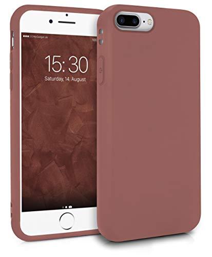 MyGadget Silikon Hülle für Apple iPhone 7 Plus 8 Plus robuste Schutzhülle TPU Case Slim Silikonhülle Back Cover Ultra Kratzfest Handyhülle matt Braun