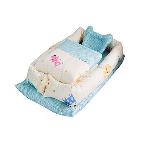 Baby Nido, T-MIX 100% Algodón Orgánico/Lavable - Recién Nacido 0-24 Meses Saco de Dormir de Seguridad - 3 Piezas Set [Almohada/Edredón/Cama Pequeña] (Dog)