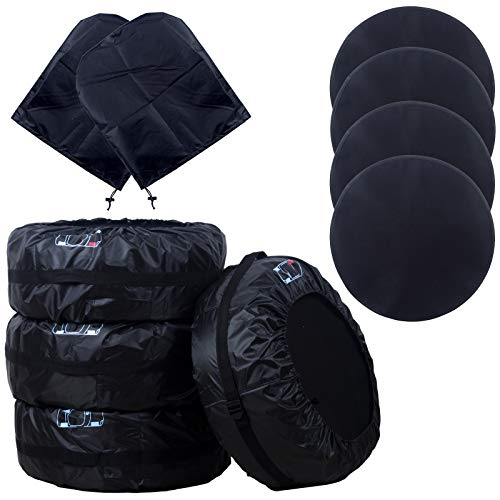 DIKLEY Tire Covers with Wheel Felt and Side View Mirror Cover Tire pad,Waterproof Adjustable Foldable Spare Tire Storage Bag Dust Cover Protection Covers for Car Truck SUV (Black-80cm/31.5in)