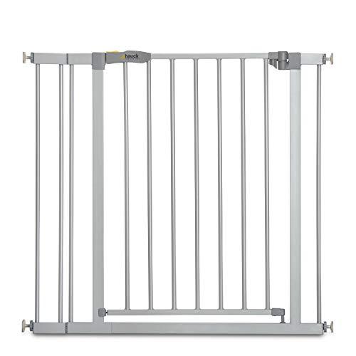 Hauck Türschutzgitter / Treppenschutzgitter für Kinder Stop N Safe 2 Safety Gate inkl. 9 cm Verlängerung / ohne Bohren / 84 - 89 cm breit / erweiterbar / Metall Gitter / grau