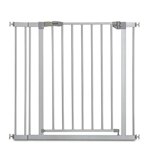 Hauck Safety Gate for Doors and Stairs Stop N Safe 2 incl. 9 cm Extension / Pressure Fit / 84 - 89 cm Large / Metal / Grey