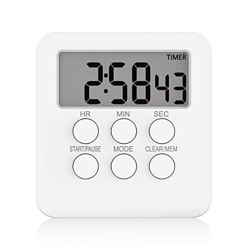 GHEART Küchentimer Digitaler Timer Stoppuhr/Countdown Eieruhren Küchenwecker Kurzzeitwecker Magnetisch Kurzzeitmesser mit Ton und Lichtsignal, Küchenuhr Timer zum Kochen, Backen, Sport, Studieren