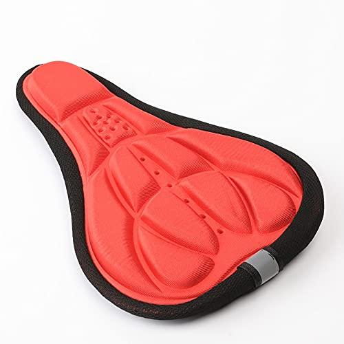 Renococo Amortiguador de bicicleta, cojín transpirable y absorbente, funda de asiento suave para bicicleta, cómodo cojín de sillín para bicicleta al aire libre, interior y exterior, color rojo