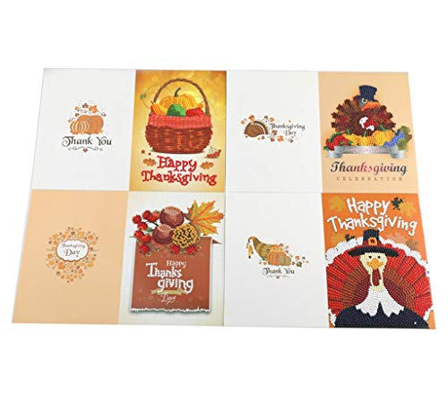 Z-HOMZYY 4 Pack handgemaakte wenskaarten DIY speciale vorm diamant schilderij Thanksgiving kaarten kit met lege enveloppen voor Thanksgiving dag kinderen ambachten cadeau