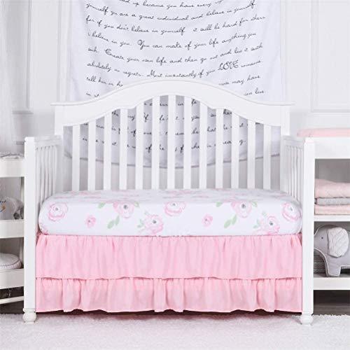 Feyart Falda de cuna con volantes, dos capas, falda de cama para niños, funda para cama de bebé, cubierta de polvo, volantes, decoración de ropa de cama, colcha (137 x 190 + 38 cm, rosa)