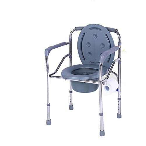 GYZ Elderly Bedside Commode Chair,with Toilet Paper Holder and Armrests Lightweight Folding Design Height Adjustable Toilet Toilet Safety Frame (Color : A)