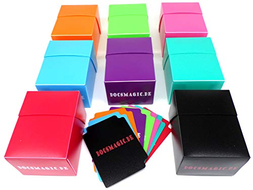 docsmagic.de Deck Box Mix - Full Black, Red, Mint, Pink, Light Blue, Light Green, Purple, Orange - 8 Count - PKM YGO MTG