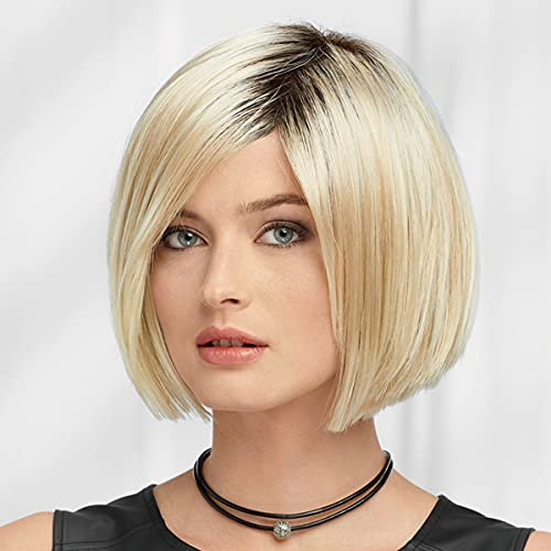 Amelia Wig by Paula Young - Bold Bob Wig with Flattering Side Part and Blunt Angles / Multi-Tonal Shades of Blonde, Silver, Brown and Red
