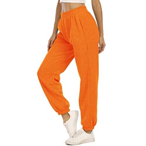 MoneRffi Jogginghose Damen Sporthose Frauen Sweatpants Freizeithose Lang Trainingshose Fitness High Waist Jogger Laufhosen Running Gym Pants(Orange dick,M)