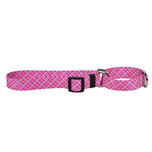 Yellow Dog Design Pink Purple Diagonal Plaid Martingale Dog Collar, X-Small-3/4 Wide fits Neck Sizes 9 to 12