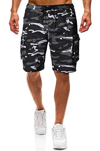 Herren Shorts Kurze Hose Herren Cargo Shorts Bermuda Short Herren Sweatshort Sportshorts Freizeit Laufen Lässige (Camouflage, XXL)