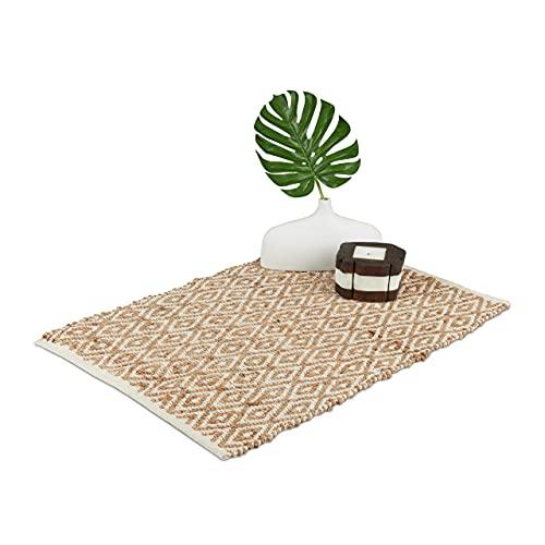 Relaxdays Alfombra de Yute y algodón, 60 x 90 cm, Alfombra para Pasillo, Cocina, Dormitorio, Antideslizante, diseño de Cuadros, Color marrón Claro