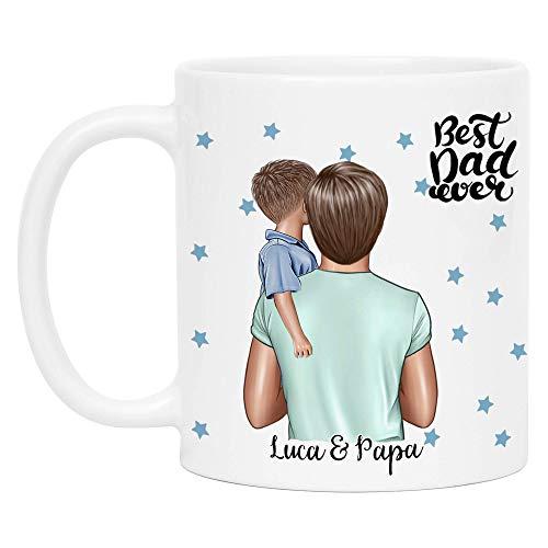 Kiddle-Design Vater Kind Tasse Personalisiert Name und Frisur Papa Kinder Sohn Söhne Baby Geschenk Kaffeetasse für Väter Vatertag Geschenk