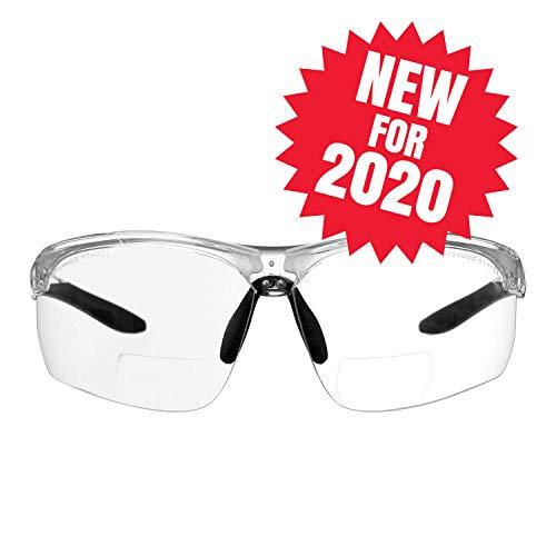 voltX 'Constructor Ultimate' Bifokale Schutzbrille mit Lesehilfe (transparenter Rahmen, transparente Gläser +2,5 Dioptrien) CE EN166FT-zertifiziert – Bifokale Rad-/Sportbrille Premium – UV400 Linse