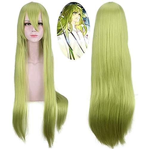 Fate Grand Order Cosplay Enkidu Peluca Verde 100cm Pelucas rectas largas para peluca de fiesta de disfraces