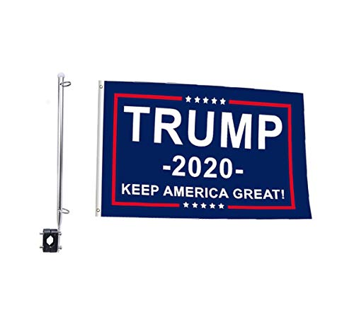 SOULBUTY Trump Boat Flags with Pole 12x18,Motorcycle Flag and Pole, Polyester Fabric, Brass Grommets, Stainless Steel Flagpole