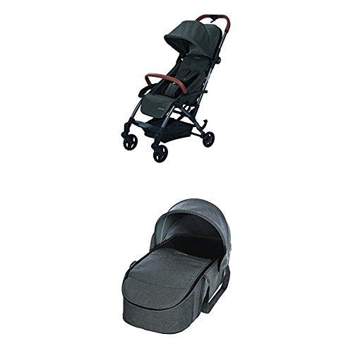 Maxi-Cosi Laika kompakter Kombi-Kinderwagen + Maxi-Cosi Laika Softtragetasche & Kinderwagenaufsatz (ab Geburt verwendbar), sparkling grey