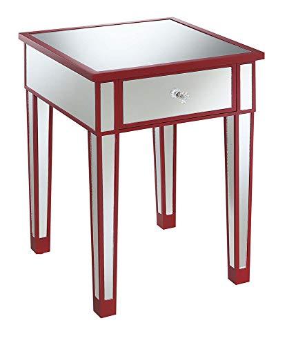 Convenience Concepts 413345CR Gold Coast Beistelltisch mit Schublade, Cranberry Red/Mirror