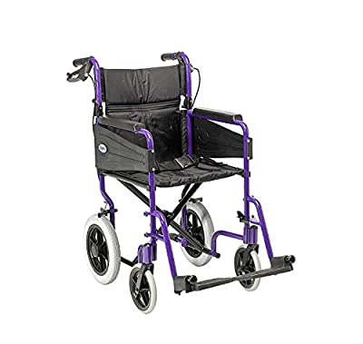 Days Escape Wheelchair, Lite Aluminium, Lightweight with Folding Frame, Mobility Aids, Comfort Travel Chair with Removable Footrests, Standard Size, Purple