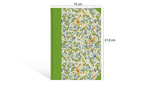 Freunde-Buch zum selbst gestalten, Skizzenbuch A5, Blanko-Buch Hochformat, 192 creme-weiße Seiten Munken-Papier 90 g/m², grünes Leinen und Lesebändchen, praktischer Begleiter im Büro