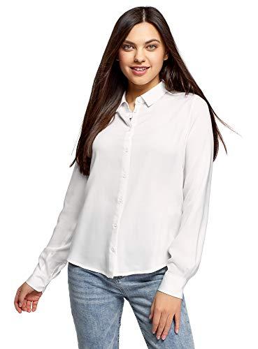 oodji Ultra Mujer Blusa de Viscosa con Cuello de Solapa, Blanco, ES 38 / S