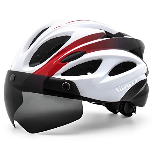 VICTGOAL Casco Bici con Luce di LED Occhiali Magnetici Rimovibili Leggero Casco Bici da Corsa per Uomo Donna 57-61 CM (Nero Bianco)
