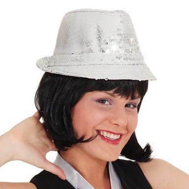 Chapeau Disco avec Paillettes, Argent