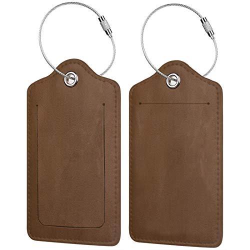 FULIYA - Juego de 2 etiquetas de cuero para maletas y maletas para identificación de viaje para hombres y mujeres, superficie, textura, marrón, lunares