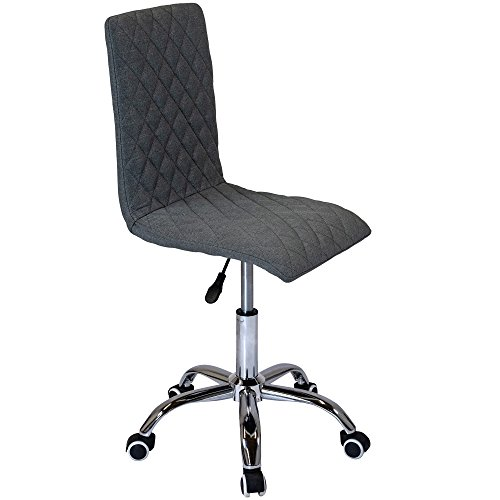 Charles Jacobs Quilted Design Home Office Swivel Desk Chair with Adjustable Height Chrome Base and Castor Wheels - Fabric Grey