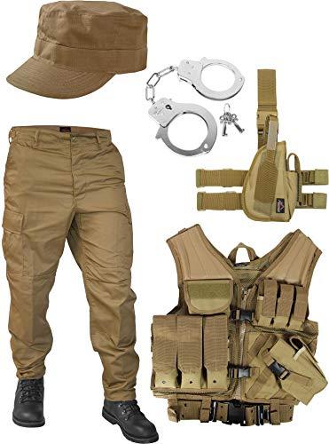 normani United States Marine Corps Kostüm Set bestehend aus Weste, Hose, Holster, Handschellen und Feldmütze Farbe Coyote Größe XL