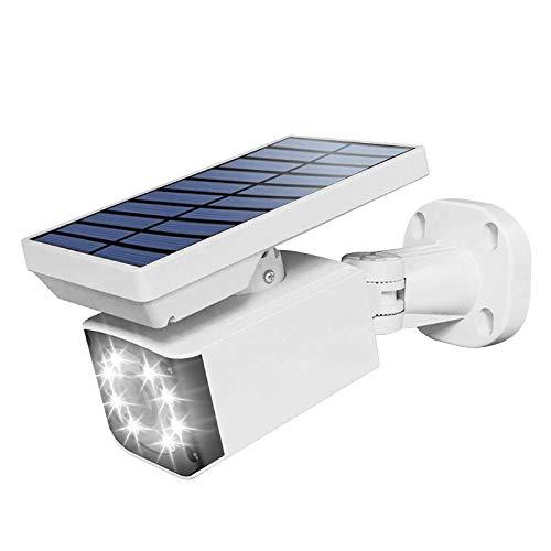 GOLDCHAMP Fake Security Camera, Solar Powered Bullet Dummy Surveillance Security Camera with Motion Sensor, IP66 Waterproof Wireless Simulated Surveillance Cameras, 3 Lighting Alarm Modes Solar Light