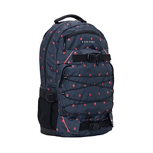 FORVERT Study Louis Unisex Backpack,Daypack,Rucksack mit 15 Zoll Laptopfach,Boardcatcher,gepolsteter Rücken und Trageriemen,Navy Double dots,one Size