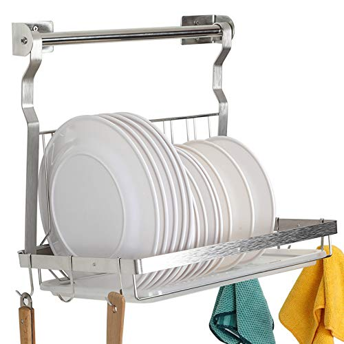 TQVAI Stainless Steel Hanging Dish Drainer Folding Dish Drying Rack with Rod, Drainboard and Hanging S Hooks - Silver