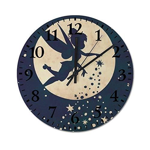 YOKJLDH Reloj de pared de madera con diseño de campanilla y hadas, funciona con pilas,...