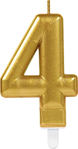 amscan 10023024 Number Candle #4 Metallic Gold-1 Pc, 40