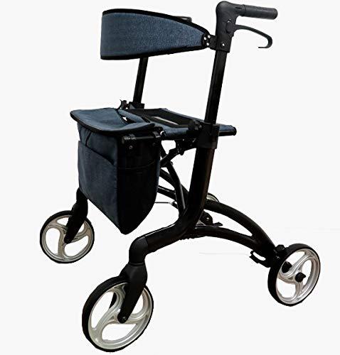 KMINA PRO - Andador Alto para Ancianos, Andador para Ancianos 4 Ruedas, Andadores para Ancianos con Asiento, Andadores Adultos Plegable con Ruedas Grandes, (Altura usuario de 1,80 a 2 m).