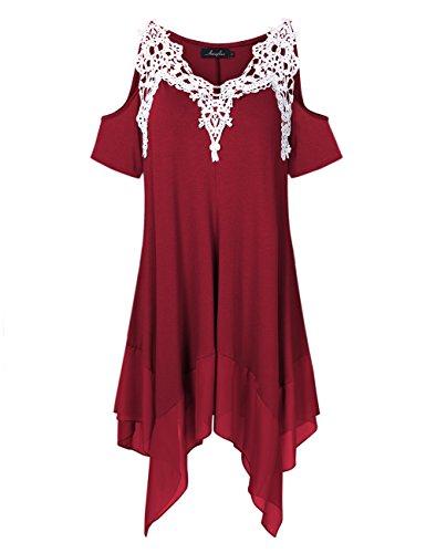 AMZ PLUS Women Crochet Lace Asymmetrical Cold Shoulder Plus Size Tunic Top Black 5XL
