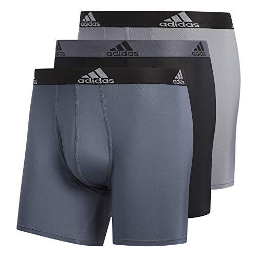 adidas Men's Performance Boxer Briefs Underwear (3-Pack), Onix/Black Black/Onix Grey/Black, X-Large