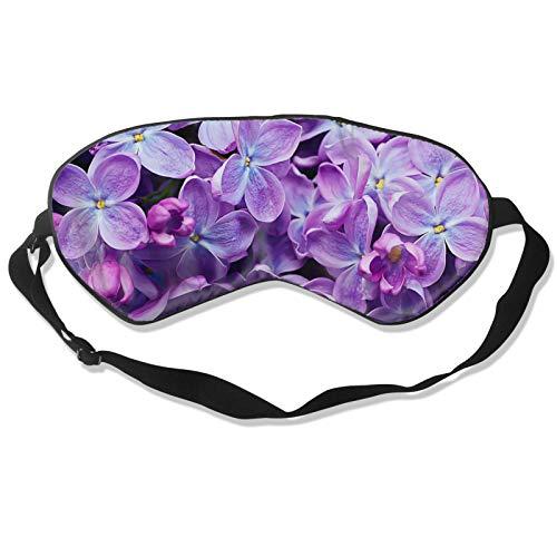 Máscara para dormir con flores de color violeta con correa ajustable para la cabeza, cubierta suave y duradera para dormir toda la noche, viajes, trabajo por turnos, meditación, siesta