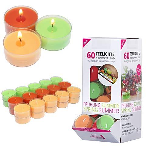 Smart-Planet® Kerzen Ambiente - 60 Stück Duft Teelichter Teelicht Set im Spender Tropical Mango - transparente Hülle - 4 Stunden Lange Brenndauer