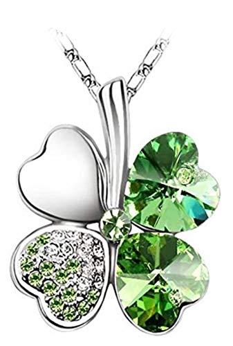Quadiva G! Collar para mujer y niña - colgante con cristales de corazón, en el diseño de un trébol (color: dorado y verde) adornado con cristales de Swarovski®
