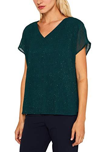 ESPRIT Collection Damen 119EO1F010 Bluse, Grün (Dark Teal Green 375), (Herstellergröße: 40)