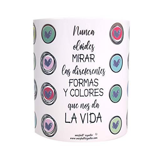 Worfull Regalos Taza Personalizada con Frase motivadora Formas y Colores de la Vida. Color Blanco. Tamaño 325ml