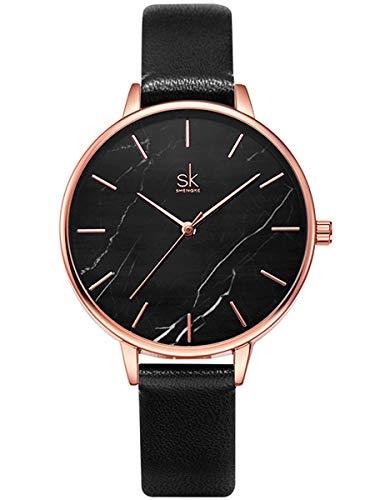 Alienwork Damen-Armbanduhr Quarz Rose-Gold mit Lederarmband schwarz Ultra-flach Slim-Uhr elegant