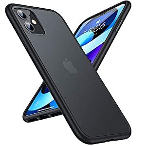 TORRAS Military Grade Shockproof iPhone 11 Case, Strong Protective yet Slim Thin Translucent Hard Back with Silicone Bumper Case Guardian Series-Black